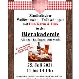 Musikalischer Weißwurst - Frühschoppen mit Duo Karin und Dirk in der Bierakademie